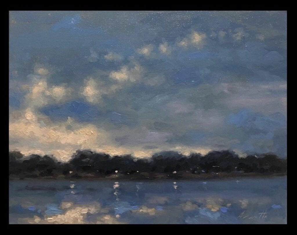 """Lights on the River"" Oil on Canvas 11 x 14 by Robert Armetta"